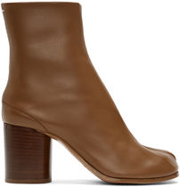 Maison Martin Margiela Plain Leather Block Heels Ankle & Booties Boots