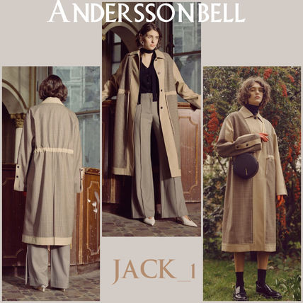 Other Check Patterns Casual Style Wool Long Trench Coats