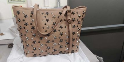 Star Casual Style Calfskin Studded A4 2WAY Leather