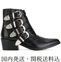 TOGA Cowboy Boots Casual Style Leather Chunky Heels