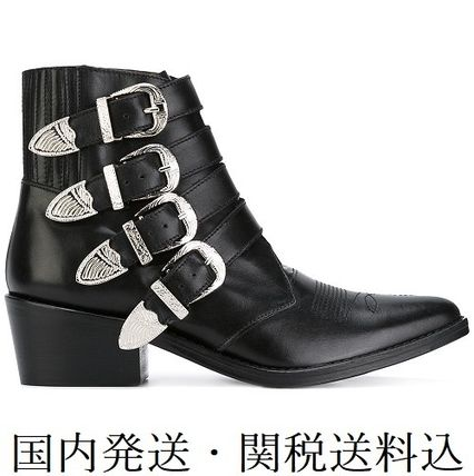 Cowboy Boots Casual Style Leather Chunky Heels