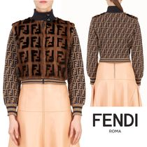 FENDI Short Monogram Fur Blended Fabrics Varsity Jackets