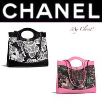CHANEL ICON Flower Patterns Tropical Patterns Calfskin Blended Fabrics