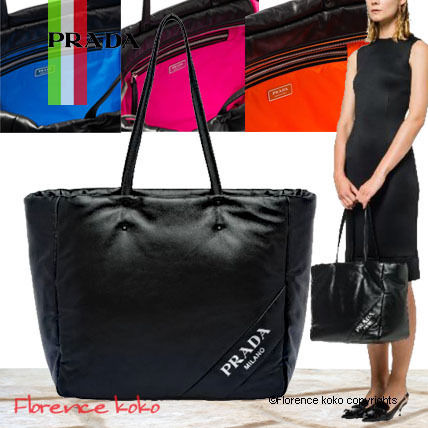 Casual Style Unisex Lambskin A4 Bi-color Plain Totes
