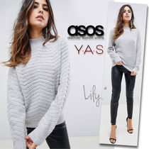 ASOS Casual Style Wool Long Sleeves Plain High-Neck Sweaters