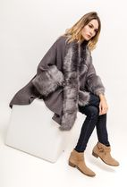 Faux Fur Blended Fabrics Plain Medium Oversized Bold