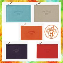 HERMES Yachting Casual Style Unisex Canvas Bag in Bag Plain Clutches