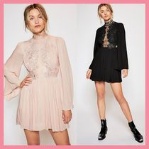 Free People Short Flared Plain Party Style High-Neck Puff Sleeves