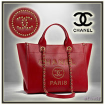 CHANEL DEAUVILLE Calfskin Studded A4 2WAY Chain Plain Elegant Style Totes