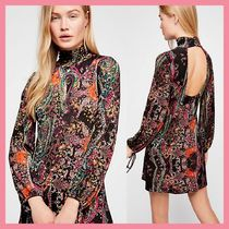 Free People Short Tight Long Sleeves Party Style High-Neck Dresses