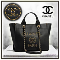CHANEL DEAUVILLE Calfskin Studded A4 2WAY Plain Elegant Style Totes