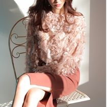 Lace-up Long Sleeves Plain Elegant Style Shirts & Blouses