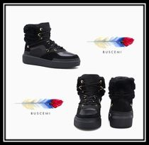BUSCEMI Rubber Sole Lace-up Casual Style Suede Plain Lace-up Boots