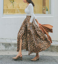 Flared Skirts Leopard Patterns Casual Style