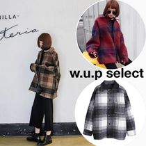 Other Check Patterns Casual Style Wool Long Sleeves Long