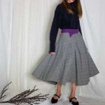 Flared Skirts Glen Patterns Casual Style Plain Cotton Medium
