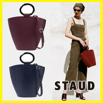 STAUD 2WAY Plain Leather Elegant Style Handbags