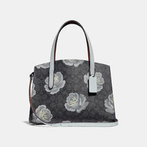 Coach Flower Patterns Casual Style Canvas 2WAY Handbags
