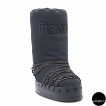 FENDI Mountain Boots Round Toe Rubber Sole Casual Style Plain
