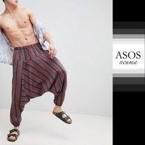 ASOS Stripes Blended Fabrics Street Style Cotton Sarouel Pants
