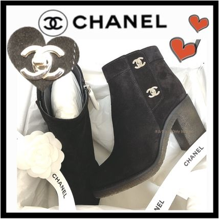 CHANEL ICON Suede Plain Block Heels Elegant Style Ankle & Booties Boots