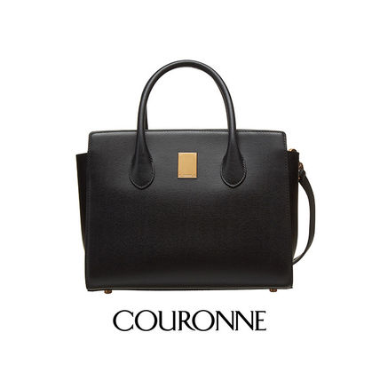 2WAY Plain Leather Office Style Totes