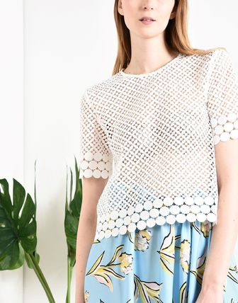 Short Sleeves Lace Elegant Style Shirts & Blouses
