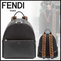 FENDI Monogram A4 Plain Leather Backpacks