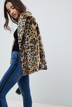 ASOS Leopard Patterns Faux Fur Cashmere & Fur Coats