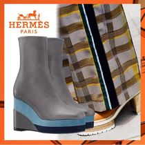 HERMES Square Toe Elegant Style Wedge Boots