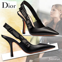 Christian Dior Studded Plain Leather Pin Heels Elegant Style