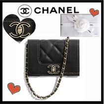 CHANEL MATELASSE Bag in Bag Chain Plain Leather Elegant Style Shoulder Bags