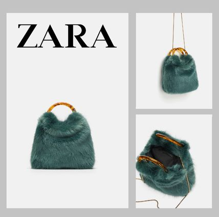 Zara Shoulder Bags Faux Fur 2way Chain Plain Elegant Style
