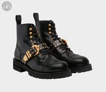 VERSACE Straight Tip Studded Plain Leather Boots