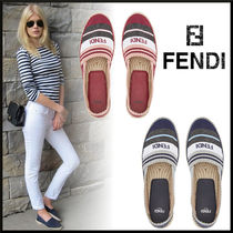 FENDI Stripes Platform Plain Toe Casual Style Street Style