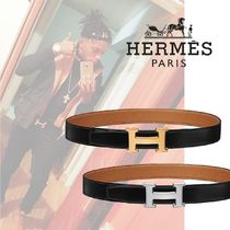 HERMES Plain Leather Belts