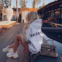 BALENCIAGA Short Street Style Long Sleeves Plain Cotton Logo