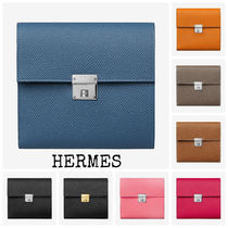 HERMES Plain Leather Coin Purses