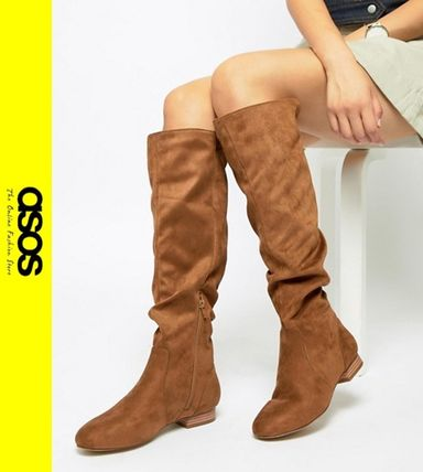 d921bd854d2 ASOS 2018-19AW Casual Style Faux Fur Over-the-Knee Boots by kazit ...