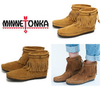 Minnetonka Rubber Sole Suede Plain Handmade Fringes Flat Boots