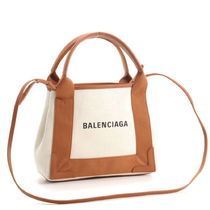 BALENCIAGA CABAS Casual Style Canvas 2WAY Bi-color Plain Handbags