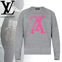 Louis Vuitton Crew Neck Pullovers Long Sleeves Plain Cotton Sweatshirts
