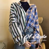 Stripes Tartan Casual Style Street Style Long Oversized