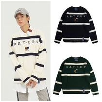 ROMANTIC CROWN Cable Knit Stripes Unisex Street Style Long Sleeves