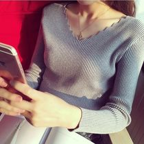 Cable Knit Street Style V-Neck Long Sleeves Plain Cotton