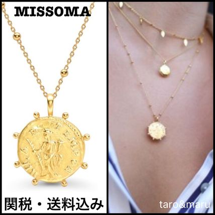Casual Style Coin Chain 18K Gold Necklaces & Pendants