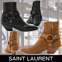 Saint Laurent Plain Toe Plain Leather Block Heels Ankle & Booties Boots