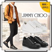 Jimmy Choo Blended Fabrics Studded Bi-color Plain Leather Sneakers