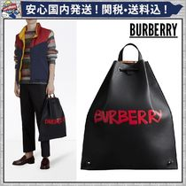 Burberry Other Check Patterns 2WAY Plain Leather Backpacks