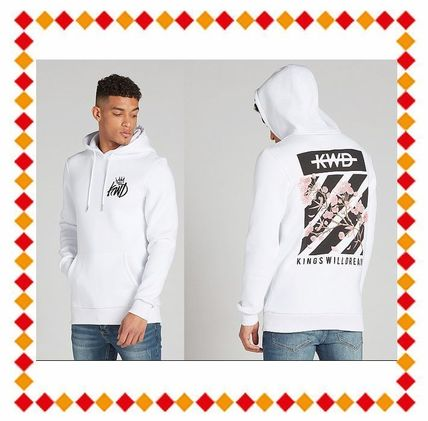 Street Style Long Sleeves Plain Cotton Hoodies